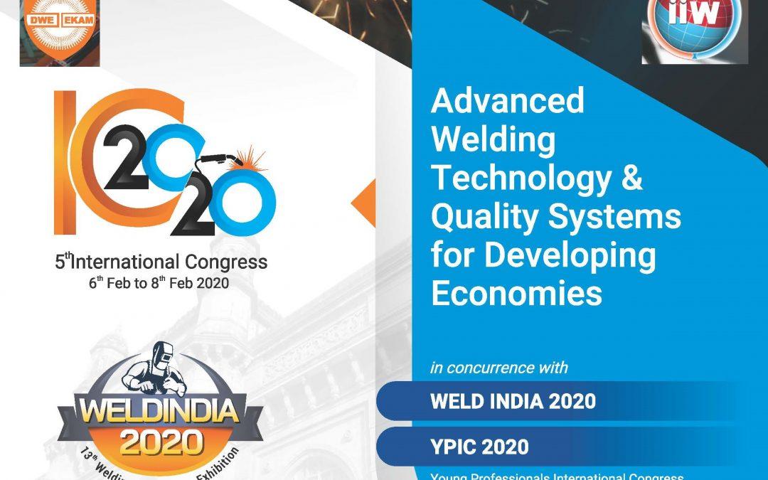 Pozvánka na 5th mezinárodní kongres WELD INDIA 2020